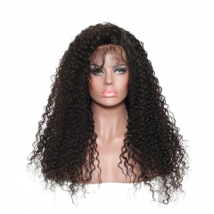 300% High Density Lace Front Wigs Deep Curly Brazilian Virgin Lace Front Human Hair Wig for Black Women Natural Color