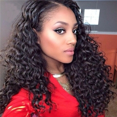 300% High Density Lace Front Human Hair Wig Deep Wave Unprocessed Brazilian Human Hair Lace Front Wig for Black Women Natural Color (20 inch)