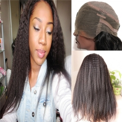 360 Lace Wig Kinky Straight Extra High Density Brazilian Virgin Remy Human Hair Full Lace Wigs with Baby Hair and Natural Hairline for Black Women Nat