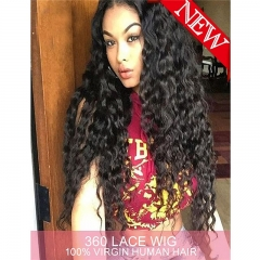 360 Lace Wig 180% High Density Water Wave Brazilian Virgin Hair 360 Lace Front Human Hair Wigs for Black Women Pre Plucked 360 Lace Frontal Wigs with