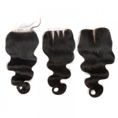 Body Wave 5x5 Lace Closure Brazilian Remy Hair Baby Hair Bleached Knots 100% Human Hair Natural Color