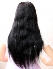 Swiss Lace Natural Straight Brazilian Hair Wigs Bleached Knots with Baby Hair Around 10-26
