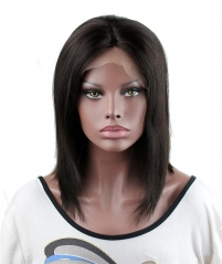 Short Bob Wigs Real Human Hair Brazilian Virgin Hair Straight Middle Part Wig