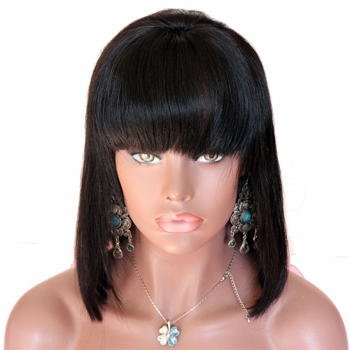 1b Natural Black Color Human Wigs Short Bob Lace Front Wig and Full Lace Wig Straight Texture Bangs in Front 10-14