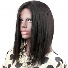 Short Bob Wigs Virgin Peruvian Hair Silk Straight 10-14 Human Hair Lace Wigs