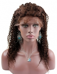 Kinky Curly #4 Brown Color Lace Front Wigs and Full Lace Wigs Malaysian Hair