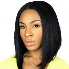 Short Bob Wigs Peruvian Hair Silk Straight 10-14 Human Hair Lace Wigs