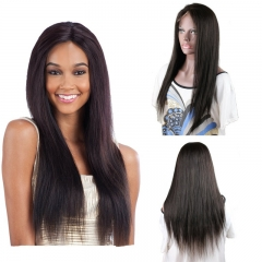 Silk Straight Brazilian Virgin Hair Long Human hair wig Lace Front Wigs For Black Women Length 12inch