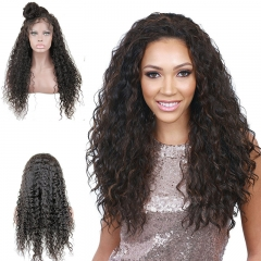 Water Wave Remy Human Hair Lace Front Wig for Black Women Bleached Knots and Baby Hair Around 16inch