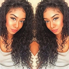 Full Lace Wigs Deep Curly 10A Unprocessed Brazilian Remy Human Hair Glueless Full Lace Human Hair Wig for Black Women Natural Color 14 inch