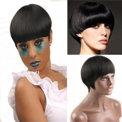 Short Bob Wig with Bangs Brazilian Remy Human Hair Glueless Full Wig Silk Straight for Women