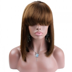 #4 Chestnut Brown Color Short Lace Wigs with Bangs Lace Front wigs 10-14
