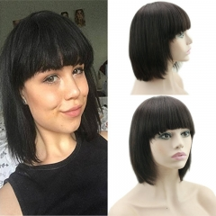 Human Hair Wigs With Bangs Short Bob Silk Straight Brazilian Human Hair Short Bob with Flat Bangs Machine Made Lace Wig for Women