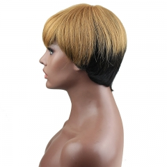 Brazilian Human Hair 2 Tone Brown Color Fashion Short Full Wigs for Women