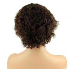 Short Straight Cheap Wigs for Women Brazilian Hair #4 Brown Full Wig