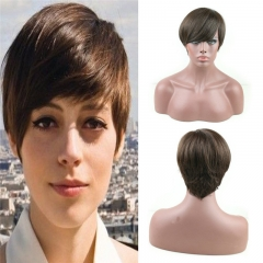 Pure Remy Human Hair Bob Short Wigs Can be Washed and Curled for Women