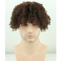 Men's Wigs Short Kinky Curly Human Hair Wig Afro Kinky Curl Wigs for Men Natural Looking Real Human Hair Wigs (Brown)