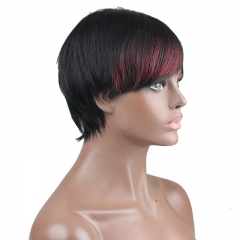 Real Brazilian Human Hair 1B/99J Color Fashion Short Full Wigs for Women