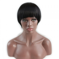 Short Bob Wig with Bangs 100% Brazilian Virgin Remy Human Hair Glueless Full Wig Silk Straight for Women