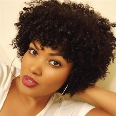 Short Kinky Curly Human Hair Wigs 100% Human Hair Wig Natural Looking Short Straight Wigs for Black Women (Black)