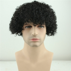 Short Kinky Curly Human Hair Wigs 100% Human Hair Men's Wig Natural Looking Short Wigs for Men (Black)