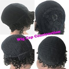 Short Straight Human Hair Wigs 100% Brazilian Remy Human Hair Short Kinky Curly None Lace Full Wig for African American Women