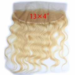 13x4 Full Lace Frontal Closure 130% Density Body Wave Free Part Brazilian Virgin Human Hair Full Lace Closure Bleached Knots with Baby Hair #613 Blond