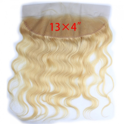 13x4 Full Lace Frontal Closure 130% Density Body Wave Free Part Brazilian Human Hair Full Lace Closure Bleached Knots with Baby Hair #613 Blond