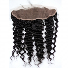 Free Part 13x4 Lace Frontal Closure Deep Wave Free Part Ear to Ear Brazilian Virgin Human Hair Extensions Frontal Lace Closure with Baby Hair Bleached