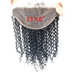13x6 Lace Frontal Closure Deep Wave Ear to Ear Free Part 130% Density Peruvian Virgin Human Hair Full Lace Closure Bleached Knots with Baby Hair Natur