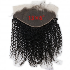 13x6 Lace Frontal Closure Jerry Curl Vietnamese Virgin Human Hair Free Part Ear to Ear Full Lace Frontal Bleached Knots with Baby Hair Natural Color