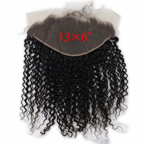 13x6 Lace Frontal Closure Jerry Curl Vietnamese Human Hair Free Part Ear to Ear Full Lace Frontal Bleached Knots with Baby Hair Natural Color