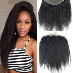 13x4 Full Lace Frontal Closure Kinky Straight Ear to Ear Free Part Unprocessed Mongolian Virgin Human Hair Extensions With Baby Hair Bleached Knots Na
