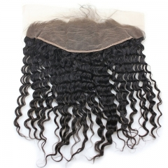 13x6 Full Lace Frontal Closure 150% Density Deep Wave Free Part Brazilian Virgin Human Hair Full Lace Closure Bleached Knots with Baby Hair Natural Co