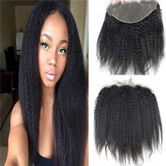 13x6 Full Lace Frontal Closure Kinky Straight Ear to Ear Free Part Unprocessed Mongolian Virgin Human Hair Extensions With Baby Hair Bleached Knots