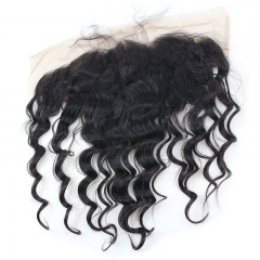 13x6 Lace Frontal Closure Ear to Ear Free Part Loose Wavy Malaysia Virgin Human Hair Full Lace Closure Bleached Knots with Baby Hair Natural Color (22