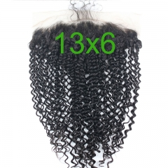 13x6 Lace Frontal Closure Kinky Curly Free Part Ear to Ear Mongolian Human Hair Lace Frontal Bleached Knots with Baby Hair Natural Color (20 inch)