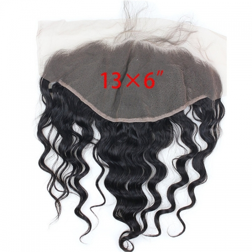13x6 Lace Frontal Closure Ear to Ear Free Part Loose Wavy Malaysia Human Hair Full Lace Closure Bleached Knots with Baby Hair Natural Color (22