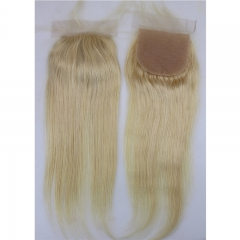 Silk Lace Closures With Baby Hair  #613 Color Silk Straight Brazilian Virgin Human Hair Lace Closure Bleached Knots Free Part for Women