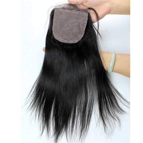 Peruvian Silk Base Closure Straight hair 4x4 Free Part Silk Base Closure Hidden Knots 18inch