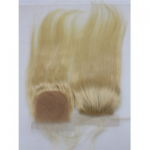 Silk Lace Closures With Baby Hair #613 Color Silk Straight Brazilian Human Hair Lace Closure Bleached Knots Free Part for Women