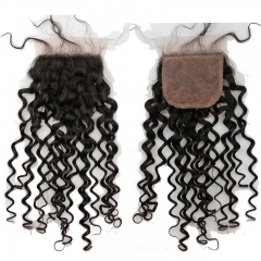 Cheap Malaysian Hair Silk Base Closure 4x4 Virgin Human Hair Free Part Curly Silk Top Closure Bleached Konts 10inch