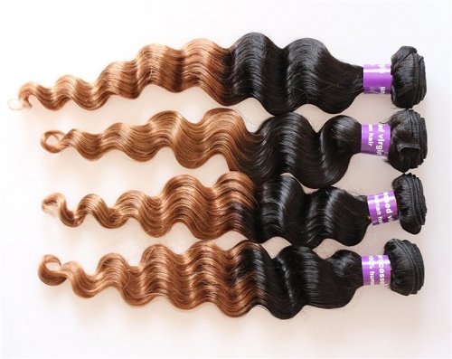 1BT30 Ombre Hair Bundles Weave Malaysian Hair Bundle Deep Wave Weaving Hair Bundles Natural Black