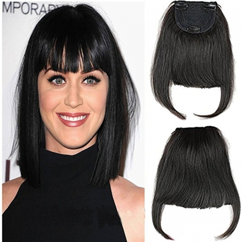 #1 Clip-in Front Hair Bangs Full Fringe Short Straight Hairpieces Brazilian Virgin Human Hair Extensions for women 6-8inch