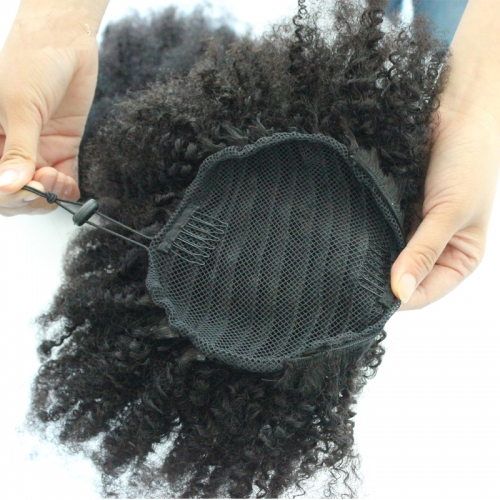4B 4C Afro Kinky Curly Ponytails Clip In Human Hair Non Remy Hair Natural Color