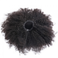 4B 4C Afro Kinky Curly Ponytails Clip In 100% Human Hair Non Remy Hair Natural Color