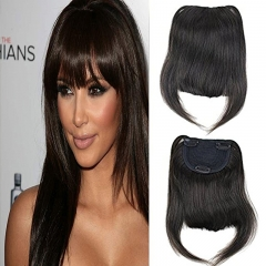 Clip-in Front Hair Bangs Full Fringe Short Straight Hairpieces Brazilian Virgin Human Hair Extensions for women 6-8inch (#2)
