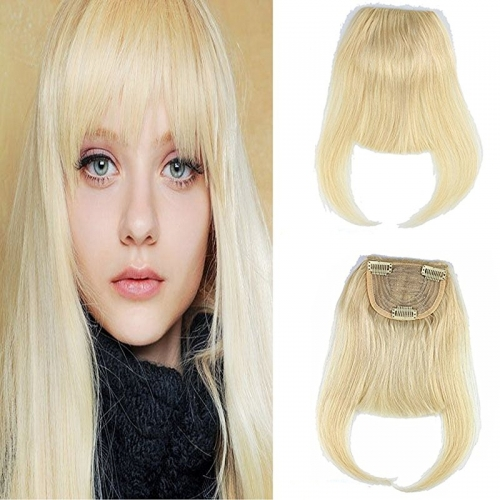 613 Blonde Clip-in Front Hair Bangs Full Fringe Short Straight Hairpieces Brazilian Virgin Human Hair Extensions for women 6-8inch