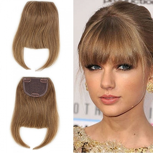 #8 Blonde Clip-in Front Hair Bangs Full Fringe Short Straight Hairpieces Brazilian Virgin Human Hair Extensions for women 6-8inch (#2)
