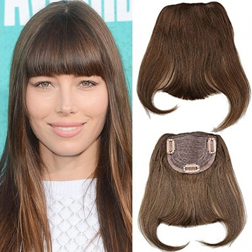 Clip-in Front Hair Bangs Full Fringe Short Straight Hairpieces Brazilian Virgin Human Hair Extensions for women 6-8inch (#4)
